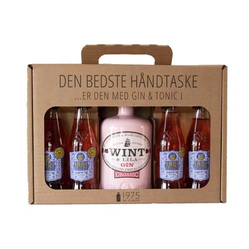1975bySimon – Wint & Lila Økologisk Gin Strawberry Gaveæske inkl. 4×200 ml Tonic