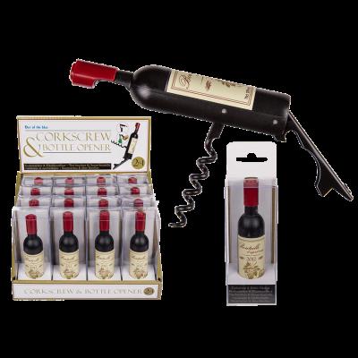 Proptrækker og Flaskeåbner i vinflaske